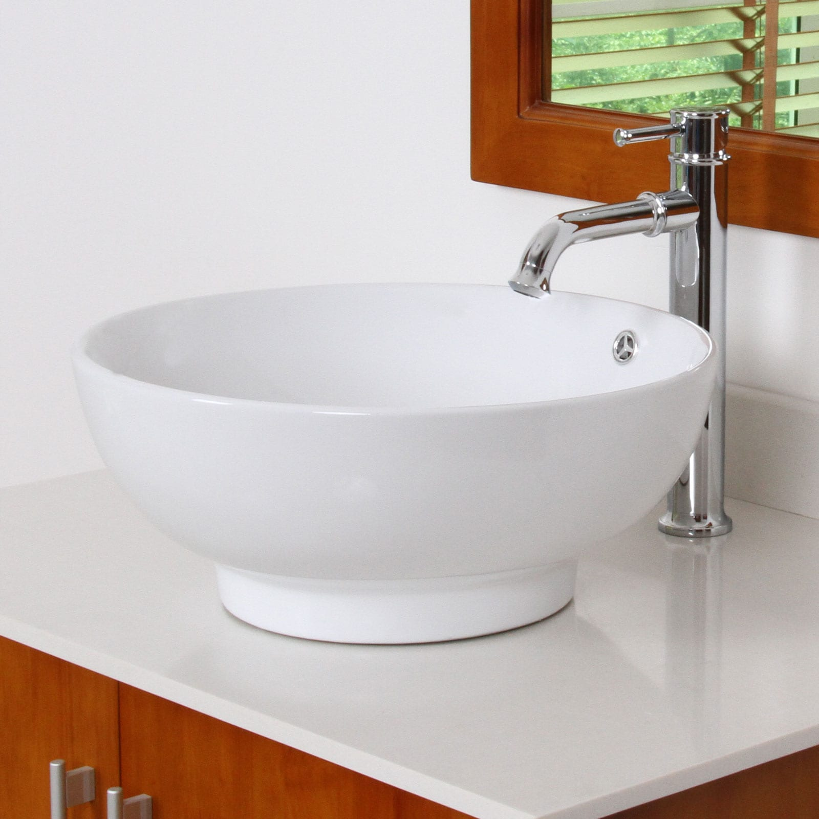 ELITE 9851F371067C High Temperature Grade A Ceramic Bathroom Sink With Unique Round Design and Chrome Finish Faucet Combo