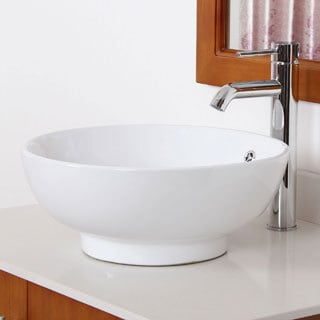 ELITE 9851F371067C High Temperature Grade A Ceramic Bathroom Sink With Unique Round Design and Chrome Finish Faucet Combo