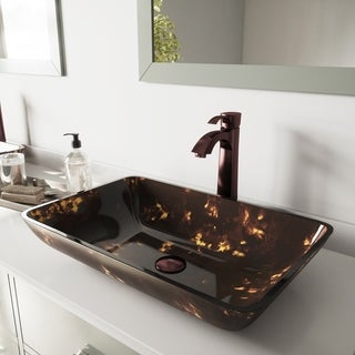VIGO Rectangular Brown and Gold Fusion Glass Vessel Sink and Faucet Set in Oil Rubbed Brozne