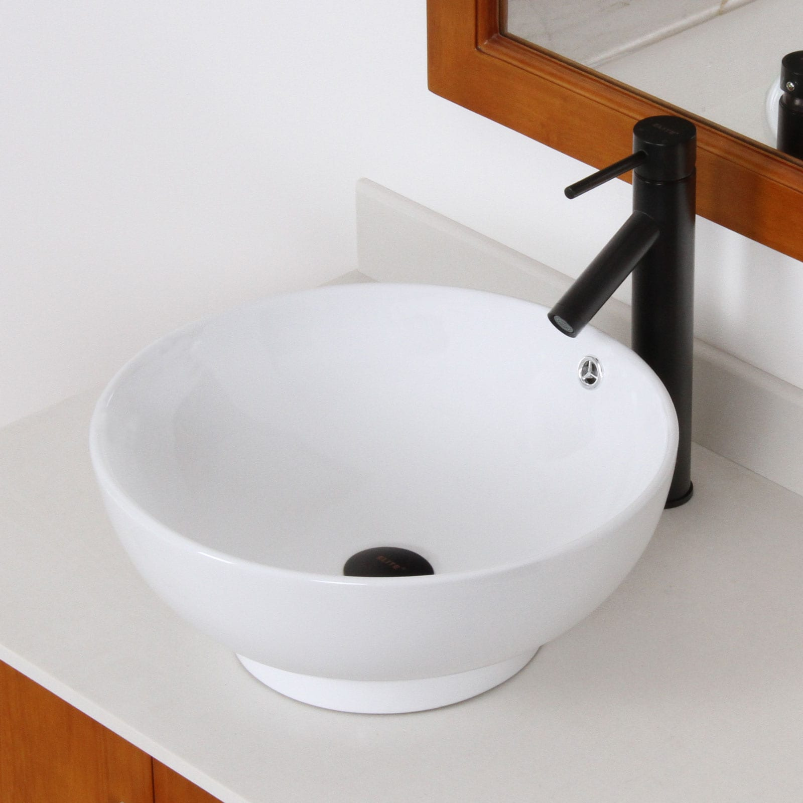 ELITE 98512659ORB High Temperature Grade A Ceramic Bathroom Sink With Round Design and Oil Rubbed Bronze Finish Faucet Combo