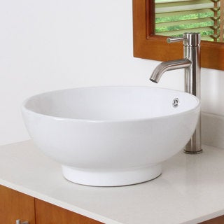 ELITE 9851F371023SN High Temperature Grade A Ceramic Bathroom Sink With Round Design and Satin Nickel Finish Faucet Combo