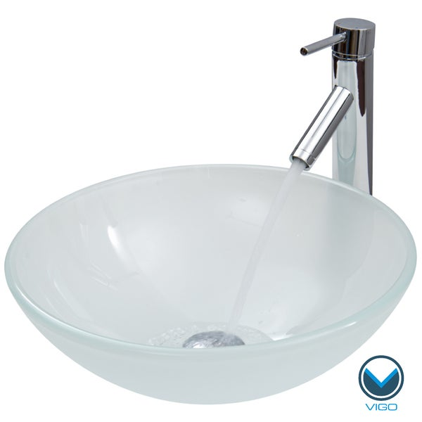 VIGO White Frost Vessel Sink and Faucet Set in Chrome