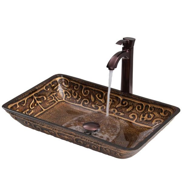 VIGO Rectangular Golden Greek Glass Vessel Sink and Faucet Set in Oil Rubbed Bronze