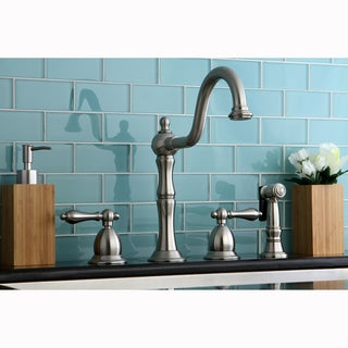Satin Nickel Single-handle Kitchen Faucet with Metal Sidesprayer