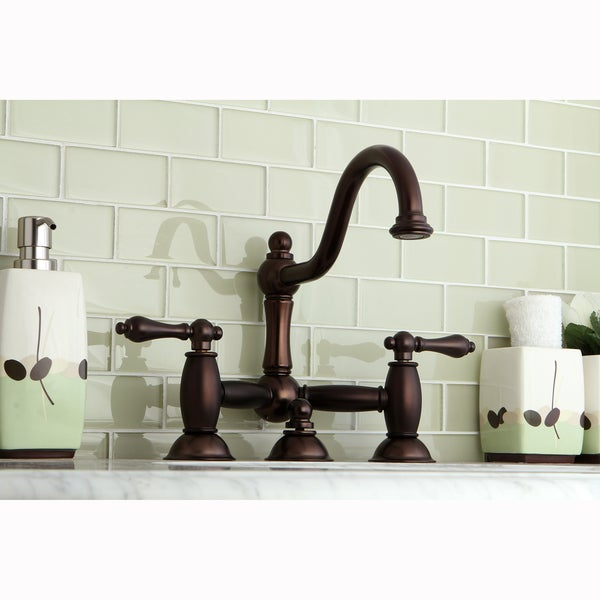 Victorian Bridge Oil Rubbed Bronze Bathroom Faucet