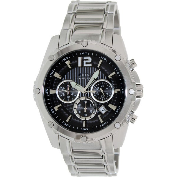 Guess Men's U0165G1 Silver Stainless-Steel Quartz Watch with Black Dial