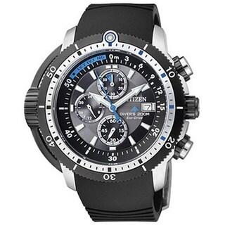 Citizen Men's Eco-Drive BJ2120-07E Black Rubber Analog Quartz Watch with Black Dial