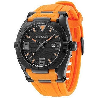 Police Men's Raptor PL.13093JSB/02A Orange Rubber Quartz Watch with Black Dial