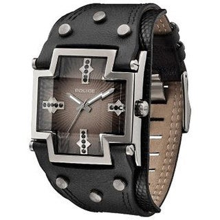Police Men's Glory PL.11598JSU/02A Black Leather Quartz Watch with Brown Dial