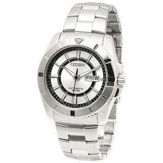 Citizen Men's NP4000-59A Silver Stainless-Steel Automatic Watch with Silver Dial