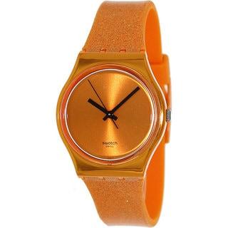 Swatch Women's Originals GO111 Orange Rubber Swiss Quartz Watch with Orange Dial