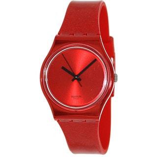 Swatch Women's Originals GR160 Red Rubber Swiss Quartz Watch with Red Dial