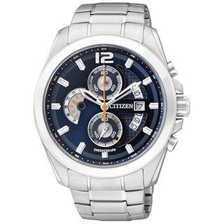 Citizen Men's Chronograph AN3420-51L Silver Stainless-Steel Quartz Watch with Blue Dial
