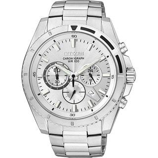 Citizen Men's Quartz Chronograph AN8010-55A Silver Stainless-Steel Quartz Watch with Silver Dial