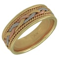 14K Tri-Tone Gold Men's Comfort-fit Handmade Wedding Band
