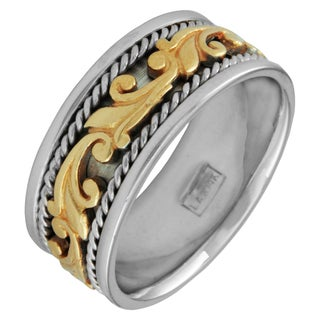 14k Two-tone Men's Handmade Comfort Fit Floral Wedding Band