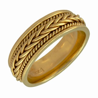 14k Yellow Gold Men's Handmade Comfort Fit Wedding Band