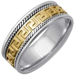 14k Two-tone Gold Men's Handmade Greek Key Design Wedding Band