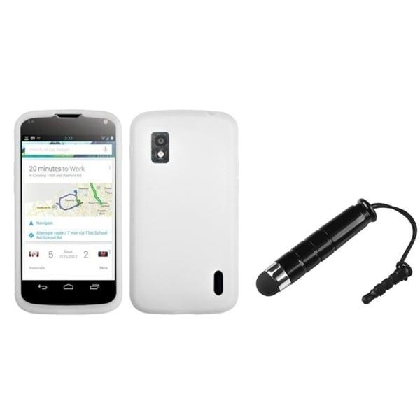 BasAcc Solid White Skin Case/ Stylus for LG Nexus 4 E960