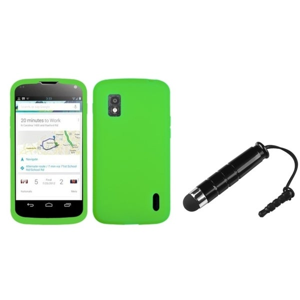 BasAcc Solid Electric Green Skin Case/ Stylus for LG Nexus 4 E960