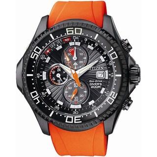 Citizen Men's Eco-Drive BJ2119-06E Orange Polyurethane Quartz Watch with Black Dial