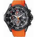 Citizen Men's Eco-Drive BJ2119-06E Orange Polyurethane Quartz Watch with Black Dial