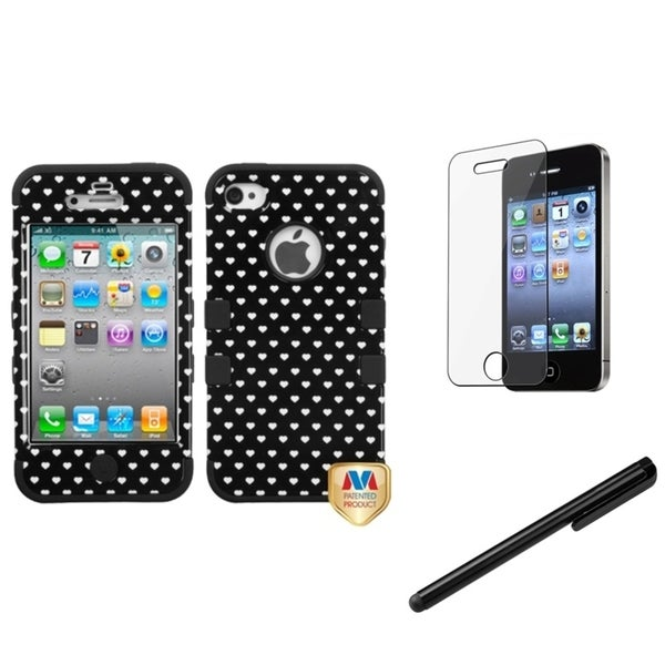 INSTEN Hearts TUFF Phone Case Cover/ Stylus/ LCD Protector for Apple iPhone 4/ 4S