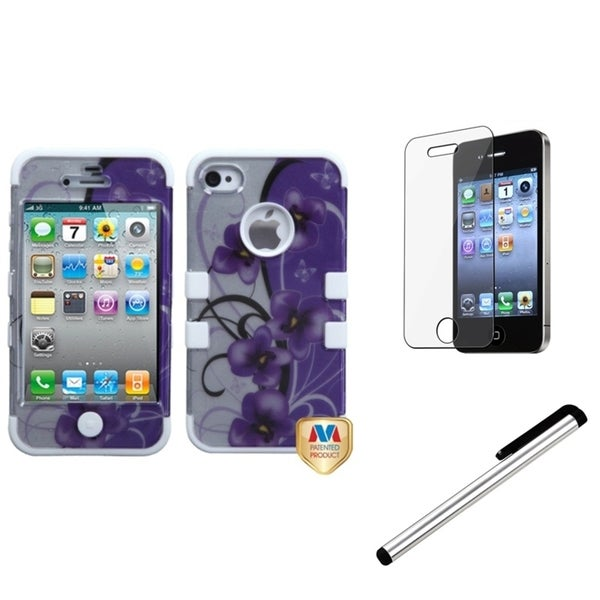 INSTEN Petunia TUFF Phone Case Cover/ Stylus/ LCD Protector for Apple iPhone 4/ 4S