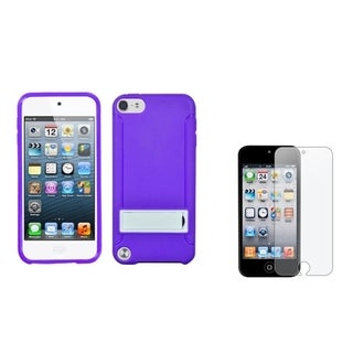 INSTEN Gummy iPod Case Cover/ Anti-glare Screen Protector for Apple iPod Touch 5