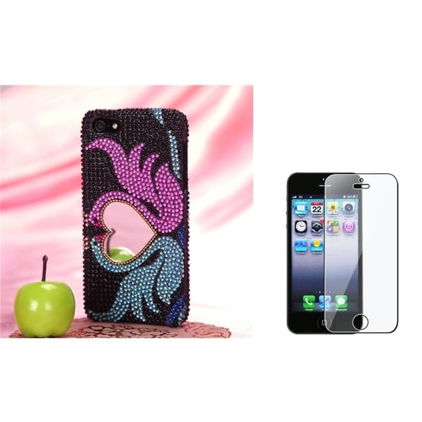 INSTEN Swan Love Phone Case Cover with Mirror/ Screen Protector for Apple iPhone 5