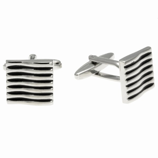 Stainless Steel Black Stripe Square Cuff Links