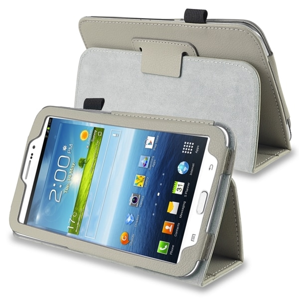 INSTEN Grey Leather Tablet Case Cover with Stand for Samsung Galaxy Tab 3 7.0