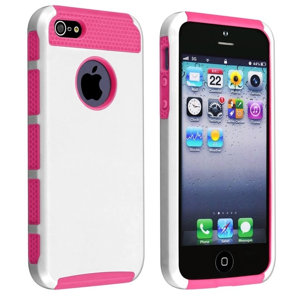 Insten Dual Layer Hybrid Rubberized Hard PC/ Silicone Phone Case for Apple iPhone 5/ 5S