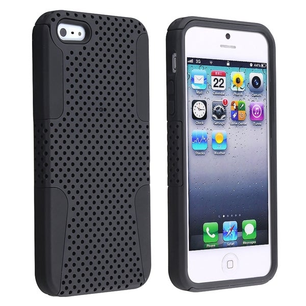 BasAcc Black Skin/ Black Meshed Hard Hybrid Case for Apple® iPhone 5/ 5S