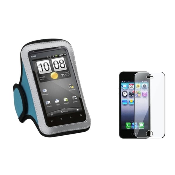 INSTEN Blue Armband Phone Case Cover/ Screen Protector for Apple iPhone 5/ 5S/ 5C