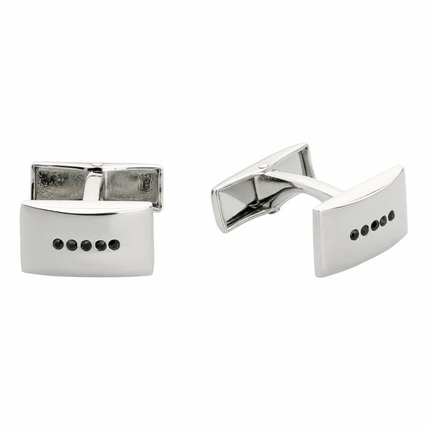 Stainless Steel Black Crystal Rectangle Cuff Links
