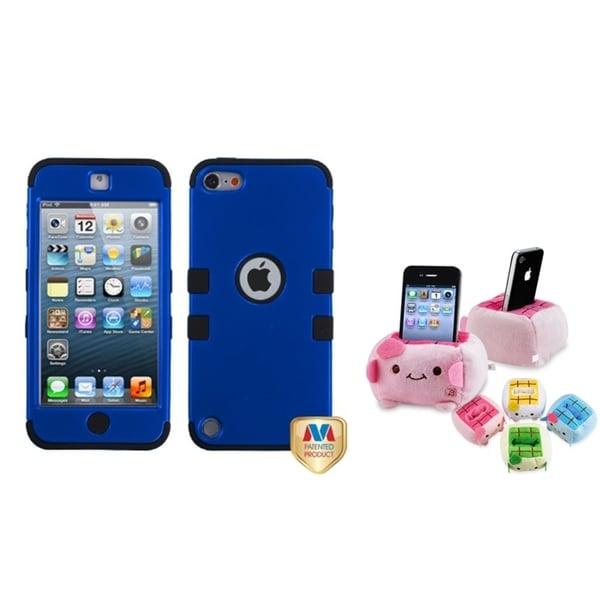 INSTEN Dark Blue/ Black TUFF iPod Case Cover/ Plush Holder for Apple iPod Touch 5