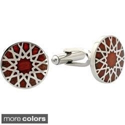 Stainless Steel Black or Brown Resin Inlay Round Cuff Links