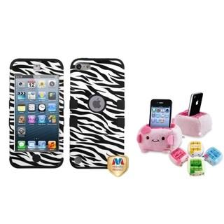 BasAcc Zebra TUFF Case/ Plush Holder for Apple iPod Touch 5