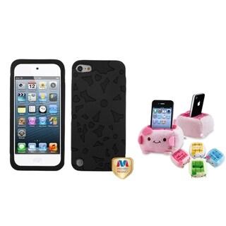 BasAcc Black Flower Case/ Plush Holder for Apple iPod Touch 5