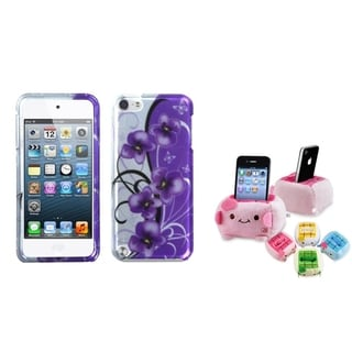 Insten Purple/ White Flower iPod Case Cover/ Plush Holder for Apple iPod Touch 5th/ 6th