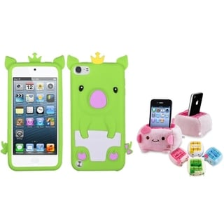 INSTEN Green Piggy iPod Case Cover/ Plush Holder for Apple iPod Touch 5