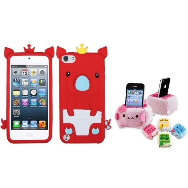 INSTEN Red Piggy iPod Case Cover/ Plush Holder for Apple iPod Touch 5