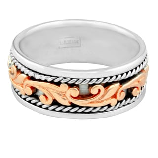 14k Two-tone Gold Men's Handmade Comfort Fit Filigree Wedding Band