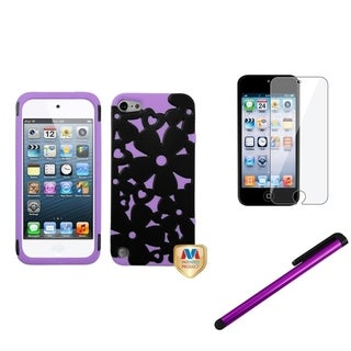 Insten Flower iPod Case Cover/ Stylus/ Clear LCD Screen Protector for Apple iPod Touch 5th/ 6th