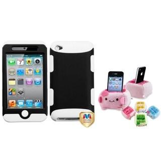 BasAcc Black/ White Case/ Plush Holder for Apple iPod Touch 4