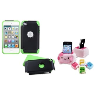 INSTEN Green/ Black iPod Case Cover/ Plush Holder for Apple iPod Touch 4