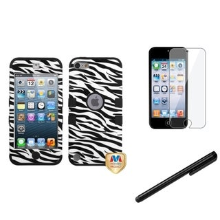 INSTEN Black Zebra iPod Case Cover/ Stylus/ LCD Protector for Apple iPod Touch 5