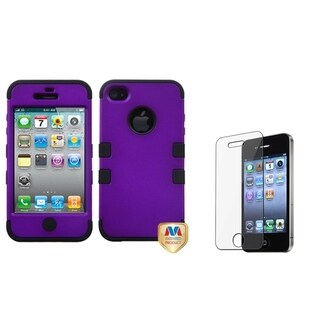 INSTEN Grape TUFF Phone Case Cover/ Screen Protector for Apple iPhone 4/ 4S