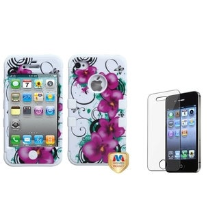 INSTEN Petunias TUFF Phone Case Cover/ Screen Protector for Apple iPhone 4/ 4S